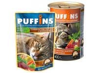 Puffins, влажный корм д/кошек (телятина/печень в желе)