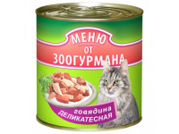 "Зоогурман ""Меню от Зоогурмана"" говядина традиционная, влажный корм д/кошек ж/б 410 гр."