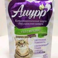 Амурр, влажный корм д/кошек (утка с морковью в желе)