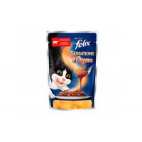 Felix, Sensations, влажный корм д/кошек (гов/томаты в соусе)