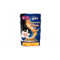Felix, Sensations, влажный корм д/кошек (утка/морковь в соусе)