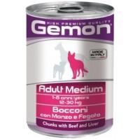 Gemon, влажный корм д/собак средних пород кусочки (говядина)
