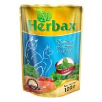 Herbax, влажный корм д/кошек (рыбное ассорти в соусе)