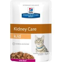 Hill's, PD, K/D, влажный корм д/кошек заболевания почек (говядина)