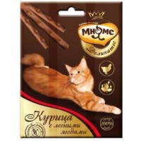 Мнямс, Деликатес, лакомые палочки д/кошек (курица/ягоды)