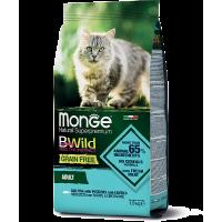 Monge, BWild Grain Free Adult, корм д/кошек (треска/ картофель)