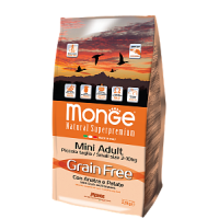 Monge, Grain Free, корм д/собак мини пород, беззерновой (утка)