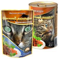 Ночной охотник, влажный корм д/кошек (мясное ассорти в желе)