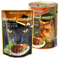 Ночной охотник, влажный корм д/кошек (мясное ассорти в соусе)