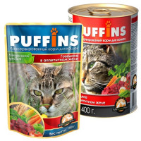 Puffins, влажный корм д/кошек (говядина в желе)