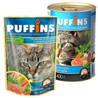 Puffins, влажный корм д/кошек (рыбное ассорти в желе)