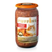 Puffins, влажный корм д/кошек (говядина/печень в паштете)