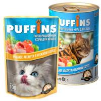 Puffins, влажный корм д/кошек (рыбное ассорти в соусе)