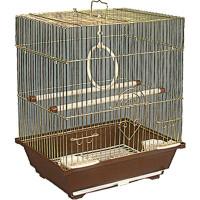 Золотая клетка, Малая квадратная крыша для птиц, золото (30х23х39 см.)