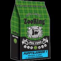 ZooRing, Puppy&Junior 1, корм д/щенков ср/кр пород (лосось/рис)