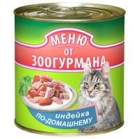 """Зоогурман """"Меню от Зоогурмана"""" Индейка по домашнему (индейка с печенью), влажный корм д/кошек ж/б 410 гр."""