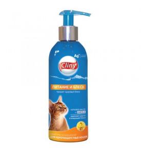 Cliny шампунь-кондиционер, питание и блеск для короткошерстных кошек 200 мл