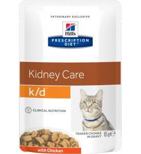 Hill's, PD, K/D, влажный корм д/кошек заболевания почек (курица)