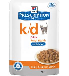 Hill's, PD, K/D, влажный корм д/кошек заболевания почек (лосось)