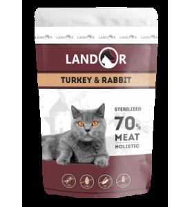 Landor, Sterilised, влажный корм д/стерил. кошек (индейка/кролик)