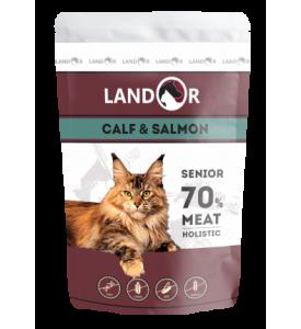 Landor, Senior, влажный корм д/пожилых кошек (телятина/лосось)