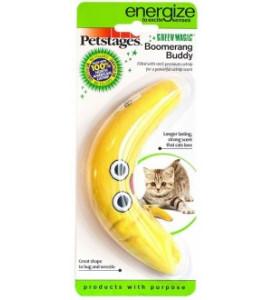 Petstages, Energize Желтый бумеранг с кошачьей мятой, игрушка для кошки 16 см