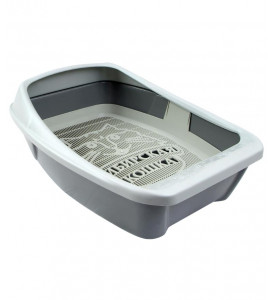 Сибирская кошка, Евро, туалет для кошек глубокий с бортиком и сеткой (44х32х16 см.)