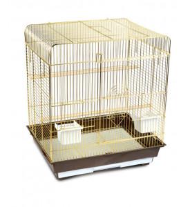 Золотая клетка, Средняя квадратная крыша для птиц, дверь в дверь, золото (40х40х59 см.)