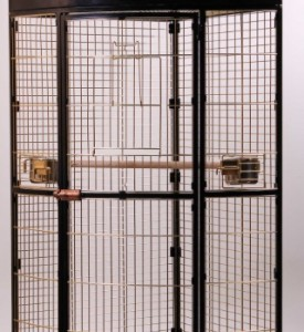 Золотая клетка, А13B, вольер для крупных птиц угловой, золото (94х63х160 см.)