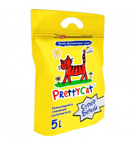 PrettyCat, Супер Белый, наполнитель комкующ.д/кошач. туалетов, лаванда